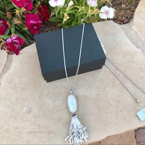 Eva Silver Long Pendant Necklace Mother-of-Pearl